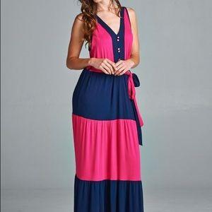 Color block dress Fuchsia Blue Maxi long